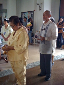 Mom and Dad Carrying the Sacred Vessels  (Ciborium and Cruets) on their Golden Wedding Anniversary