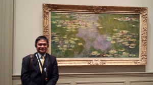 Standing happily next to one of Monet's Waterlilies at the Met
