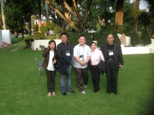 """Philippine Delegation"" (IALU Forum 2013): Dina (HSC), Dino (CSB), Juni (LCA), and Luis (Dasma)"