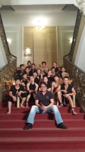 "With the cast of the fantastic ""A O"" show at the Saigon Opera House (December)"