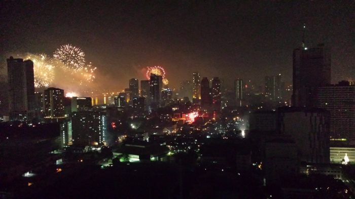 New Year Fireworks Display (View from my Balcony, January 1, 2015)