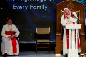 "Pope Francis at the Meeting with Filipino Families, January 16, 2015. He was talking about St. Joseph, sleeping. Also in the photo is Cardinal Luis Tagle, Archbishop of Manila, whom Vatican analyst John Allen Jr. called ""the Asian Pope Francis."""