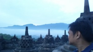 On top of Borobudur soon after sunrise