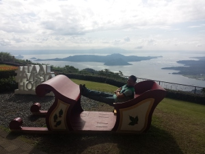 Enjoying the view of Taal after enjoying a breakfast buffet with the family