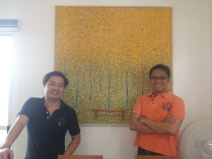 With Carlo after installing paintings